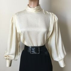 b4920a5674ed0b 14 L Vintage 80s Silk Satin Damask High Neck Blouse 40