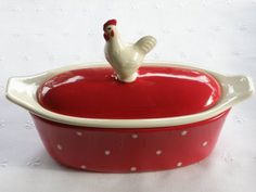 Vintage Style Rooster Butter Boat 3 Piece Red Or Burgundy Butter Crock, Butter Dish, Red Farmhouse, Red Rooster, Red Hen, Red Cottage, Stick Of Butter, Earthenware, Vintage Fashion