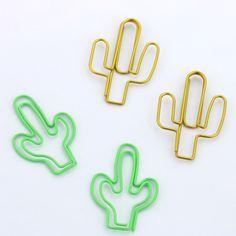 TUTU tamaño grande 4 unids oro verde Cactus Forma Clips de Papel Divertido Kawaii Papelería Escolar Oficina Marcador Marcar Clips H0117