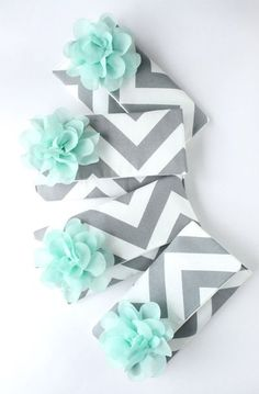 Set of 6 Custom Chevron Bridesmaid Clutches in Mint and Gray I need a diaper bag designed like this!! So precious