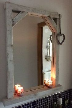 Characteristics of the timber used may differ slightly with each mirror. Driftwood Mirror, Diy Mirror, Rustic Bathroom Mirrors, Bathroom Ideas, Mirrored Furniture, Diy Furniture, Rustic Room, Whitewash Wood, Diy Wall Decor