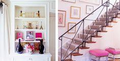 feminine home design decor bookcase stairs