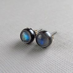small sterling silver rainbow moonstone stud earrings