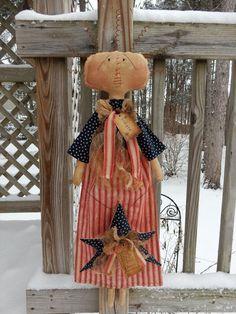 FoLk Art PrimiTive Lady LiberTy Americana PatrioTic RAGGEDY ANN DOLL DecoraTion #PrimitiveLookFOLkArt #MelissaHarmon