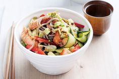 For something a little different, try adding avocado to this salmon and soba noodles classic. Coconut Rice, Toasted Coconut, Tamarind Sauce, Salmon Avocado, Soba Noodles, Fresh Coriander, Cooking Salmon, Just Cooking