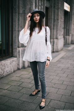 Zara-laceup-flats-white-bell-sleeve-top-Brixton-grey-hat-burgundy-box-leather-bag-3