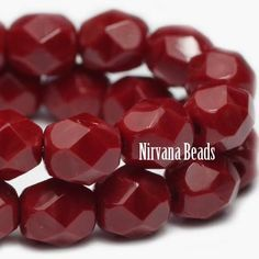 4mm Faceted Round Firepolished Beads R. Red Umber