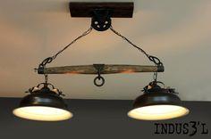 Rustic Chic Yoke Lamp & Pulley   Playa Del Carmen Rustic Industrial Lamps & Furniture