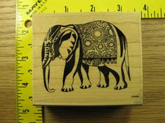 DECORATED ELEPHANT BY PAPER PARACHUTE Rubber Stamp #2582