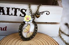 Butterfly glass cameo charm necklace Cottage flower by missvirgouk, $15.50