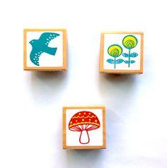 Japanese Bird Flower mushroom Rubber Stamp - Planner - Mailing - Packaging - Journal - Scrapbooking. by niconecozakkaya on Etsy