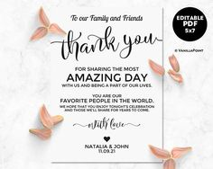 Greenery Thank You Card Template Wedding Thank You  Wedding