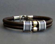 481ef1066fe Mens Leather Bracelet Leather Men Beaded Bracelet Cuff Brown Black Antique  Silver Plated Customized On Your Wrist MS1