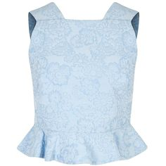 Womens Crop Tops Erdem Frankie Blue Ruffled Cloqué Top (1 375 AUD) ❤ liked on Polyvore featuring tops, shirts, crop tops, blue top, crop top, ruffle top, floral print shirt and flounce crop top