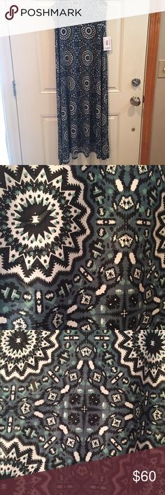 LuLaRoe Maxi Skirt. Size Small. Beautiful New Maxi skirt for Spring Collection. Gorgeous Blues, Teals and Greens with a beautiful black white and grey Spirograph design. This maxi is also double printed with another design over it which makes it appears shiny in certain lights and angles. That part didn't photograph well but this Maxi is stunning in person! This is a cold, slinky material perfect for spring and summer! Also can be worn as a strapless dress or swim cover up. Size Small…