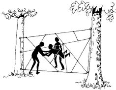 Spider's Web rope course. Must get all members through a different hole of the web