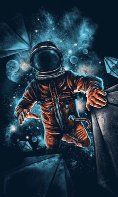Space, astronaut, galaxy, dark, artwork, 480x800 wallpaper