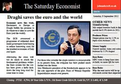 Draghi makes a move to save the Euro and the world. The Saturday Economist 8th September is out now,