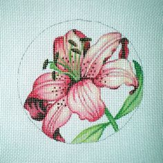 Pink Stargazer Lily Needlepoint Canvas by colors1 on Etsy, $20.00