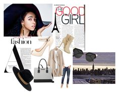 """""""Jean chic"""" by ajrenae07 ❤ liked on Polyvore featuring Christian Louboutin, BLANKNYC, Janessa Leone, Fendi and Nine West"""