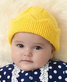 Free Knitting Pattern for Baby Crown Hat