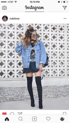 @rubilove. Oversized graphic tee, denim jacket, & black thigh high boots.