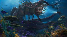 Deep sea creature by AlejandroOlmedo Creature Concept Art, Creature Design, Ocean Backgrounds, Wallpaper Backgrounds, Eldritch Horror, Dinosaur Pictures, Underwater Sea, Deep Sea Creatures, Sea Colour