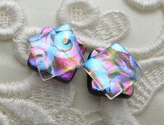 Dichroic Glass Post Earrings Glass Earrings by GalaxyGlassStudio, $10.00