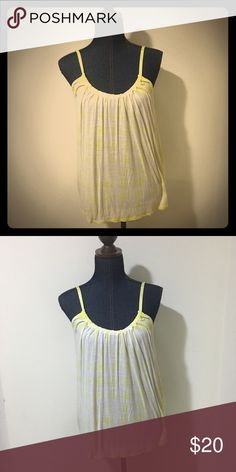 Lucky Brand Tank White and fluorescent yellow contrast.  Perfect for summer. Lucky Brand Tops Tank Tops