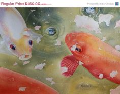 "Koi Fish, Original Watercolour Painting, Home decor, 12""x8"" Carp, Koi, Fish"
