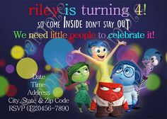 Disney Inside Out Birthday Party Invitation, FREE Thank you card
