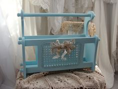 Vintage magazine rack shabby cottage distressed by SummersBreeze