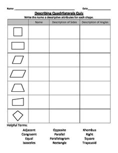 Printables Third Grade Common Core Math Worksheets asignaturas comunes and productos on pinterest describing quadrilaterals third grade math common core geometry 3 g a 1 teacherspayteachers