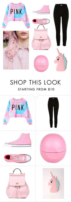 """""""PINK"""" by csuvik-sara ❤ liked on Polyvore featuring Chicnova Fashion, Converse, River Island, Dolce&Gabbana and Missguided"""
