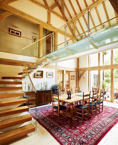 When Alison Farrell-Price finally found her perfect rural plot, she didn't just build one oak frame house, but two Oak Frame House, Hall House, Grand Designs, Building A House, Architecture Design, Living Spaces, Family Room, New Homes, Barn Conversions