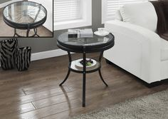 "Hammered Black 20""Dia Accent Table With Tempered Glass"