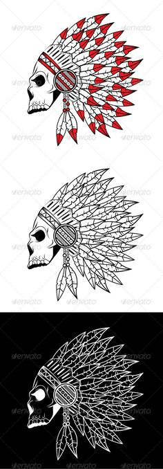 Indian Skull  #GraphicRiver         Editable vector illustration of Indian skull.   Image suitable for emblem, insignia, design elements, tattoo, or t-shirt design.   Package