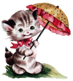 kitty with parasol