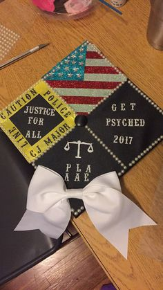 Not perfect but I got what I wanted on it. Funny Graduation Caps, Graduation Cap Designs, Graduation Cap Decoration, Nursing Graduation, Grad Cap, Criminal Justice Graduation, Criminal Justice Major, Graduation Party Planning, Graduation Theme