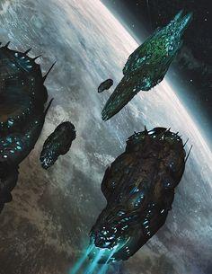Organic spaceships www. Alien Spaceship, Spaceship Design, The Stars My Destination, Digital Drawing, Epic Backgrounds, Alien Ship, Sci Fi Spaceships, 70s Sci Fi Art, Sci Fi Ships