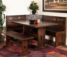antique wooden brown breakfast nook furniture set with 3 chairs breakfast nook furniture set