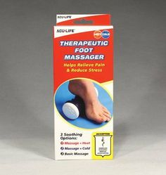 Therapeutic Foot Massager by Health Enterprises. $15.35. QTY: 1. HEI400708. Soothing relief for foot, arch, heel pain, tired or aching feet, plantar fasciitis, heel spurs and stress. Massage knob allows the user to control the amount of pressure for a gentle or deep tissue massage. No-slip rings provide traction for maximum control on hard surfaces and raised edge design secures foot to help prevent slippage. Provides 3 soothing options - Massage + Heat, Massage + Cold, and ...
