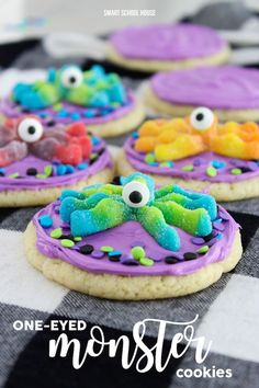 One-Eyed Monster Cookies. 3 ingredient cookies topped with colorful frosting, candy eyes, and monster gummies. Easy cookie recipe to make for Halloween or a birthday party.