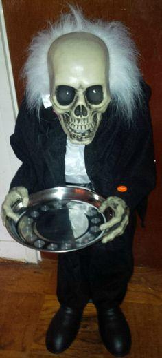Scaretaker Animated Halloween Butler Skeleton Prop Animatronic - scary halloween props
