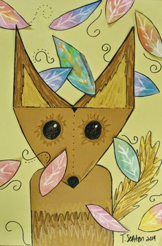 The Lost Sock: how to draw fox, use water colors and crayons for leaves.