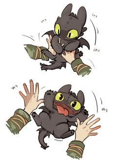 Cat playing  ...  Drawn by kadeart ...   How to train your dragon, toothless, hiccup, night fury, dragon, viking