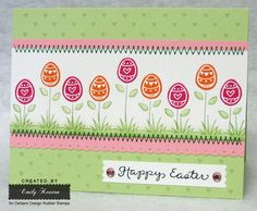 Pretty Easter card - could tturn this into a kid craft using thumb prints