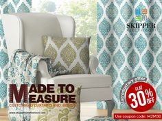 Get customised curtains & blinds at your doorstep with 30% Discount on www.skipperhomefashions.com. Choose from our wide range of fabrics in different patterns, styles, materials and hues for your home décor Today! #SkipperHomeFashion #skipperhomefashion #Customised #Discount Buy at: www.skipperhomefashions.com/made-to-measure