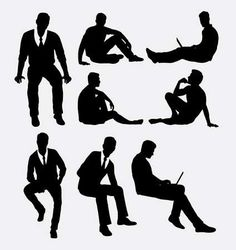Illustration of Man sitting silhouettes vector art, clipart and stock vectors.