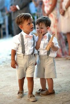 Cute wedding out ideas for page boys: crisp white shirt, brown leather loafer boat shoes, pale baby pink bow tie, cotton striped shorts - more at megacutie.co.uk